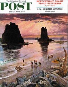 Saturday Evening Post - 1957-07-27: Pacific Ocean Sunset (John Clymer)