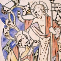 - Christ appearing to Mary in the Garden (design for a stained glass window by AWN Pugin from Stained Glass Windows, Happy Easter, Watercolour, Garden Design, Christ, Gothic, Mary, Collections, History
