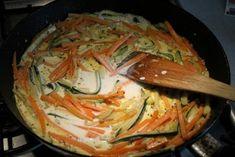 Cukkinis csirkemell sárgarépával, tejszínnel - Kemény Tojás receptek képekkel Cooking Together, Thai Red Curry, Vegetarian Recipes, Meat, Chicken, Ethnic Recipes, Tableware, Food, Dinnerware
