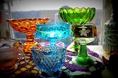 vintage candy dishes, love them, have many...only green or amber :0)