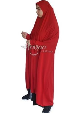 EVA White long Khimar with cuff Sleeves. This khimar is almost full length, depending on the height of the wearer. Our model is about and the khimar hijab covers her from head to heel. Soft a Islamic Fashion, Cuff Sleeves, Slip On, Model, Red, Hijabs, Clothes, Easy, Products