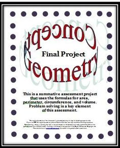 This summative assessment geometry project uses the formulas for area, perimeter, circumference, and volume with problem solving being the key component. In the original resource, seven plane and solid real-life geometry problems are presented which invol