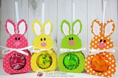 Sue's Stamping Stuff: My Scrap Chick Bunny Lollipop holder Easter Candy, Hoppy Easter, Diy Niños Manualidades, Bunny Birthday, Polka Dot Paper, Candy Crafts, Easter Projects, Easter Crafts For Kids, Craft Fairs