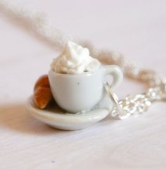 Coffee And Croissant Miniature necklace polymer clay by Zoozim, $15.00