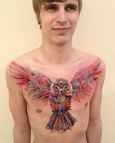 Watercolor owl wings- 55 Awesome Owl Tattoos | Cuded