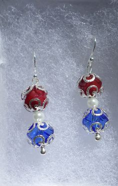 Patriotic Cut Glass and Pearl Earrings - Independance Day Jewelry / Military Wedding Bridesmaid Gift / Red White and Blue 4th of July Fourth