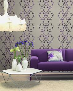 Rasch Textil Amira 1   Ein Violett Besticktes Paneel Mit Glanz Bringt  Eleganz An Ihre Wände
