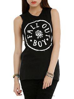 Fall Out Boy Circle Logo Girls Muscle Top, BLACK