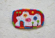 Brooch Hundertwasser N2 hand embroidered textile by oksaniko