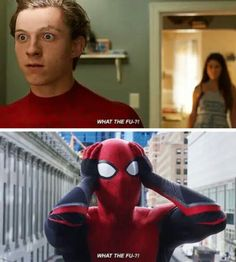 """Why do all the new Spider-Man movies end like """"What the fu- Marvel Jokes, Marvel Funny, Marvel Dc Comics, Marvel Heroes, Marvel Avengers, Ms Marvel, Captain Marvel, Funny Comics, Spider Man Homecoming 2017"""