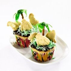 Make Safari Cupcakes: Get creative in the kitchen with this easy-to-follow recipe for safari cupcakes. The trees are made from fruit leather, and the animals are ordinary animal crackers. Source: Essential Everyday