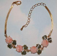 Vtg Natural Angel Skin Carved Coral Rose Jade Leaf  GP Link  Bracelet Anklet #Unbranded #ChainLink