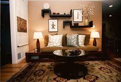Kravet Pillows on Custom Frame. Spindle Table.