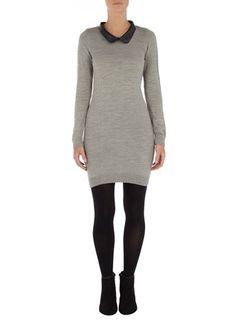 Grey PU collar dress