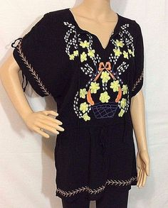 Anthropologie Tunic Embroidery Ark Co Flower Basket Size M Yellow Mexican Black #AnthropologieArcCo #Embroidered