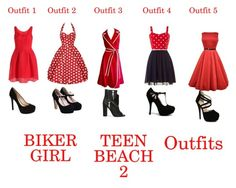 """""""Teen beach 2 biker girl outfits"""" by graser10 ❤ liked on Polyvore featuring Jessica Simpson, Casadei and Qupid"""
