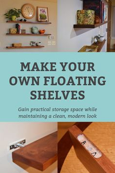 Custom-made floating shelves by BobMc, using Rockler's I-Semble Heavy-Duty Blind Shelf Supports. Heavy Duty Floating Shelves, How To Make Floating Shelves, Beginner Woodworking Projects, Diy Woodworking, Blind Shelf Supports, Diy Blinds, Diy Crafts To Do, Wood Working For Beginners, Home Improvement Projects