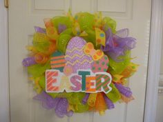 Easter wreath unique deco mesh by HearttoHeartNC on Etsy, $45.00