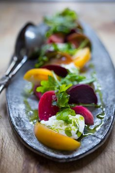 Tomato, Beet and Burrata Salad with flavorful Basil Oil -- a simple ...