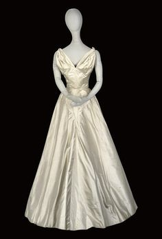 HARDY AMIES, AN OYSTER WHITE SATIN GOWN Hardy Amies, Satin Gown, White Satin, Oysters, Vintage Dresses, Gowns, Costumes, My Style, November 3