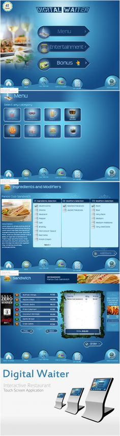 Digital Waiter Kiosk Application by Jasleen Singh, via Behance