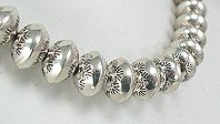 Hand made Native American Indian Jewelry; Navajo Sterling Silver bead necklace