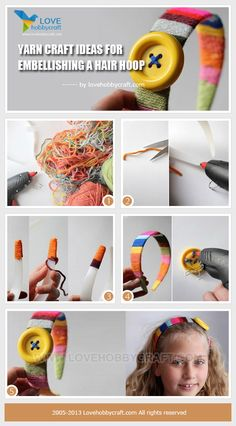 Yarn craft ideas for embellishing a hair hoop
