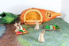 Carrot House and Rabbits Felt Play Set with by MuddyFeet on Etsy
