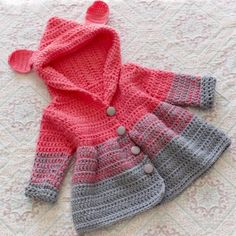 Beauty and Easy Crochet Baby Clothes for new 2019 - Page 45 of 50 - Daily Crochet! - Beauty and Easy Crochet Baby Clothes for new 2019 – Page 45 of 50 – Daily Crochet! Crochet Baby Dress Free Pattern, Crochet Baby Jacket, Crochet Baby Sweaters, Baby Sweater Patterns, Crochet Coat, Baby Girl Crochet, Crochet Baby Clothes, Crochet For Boys, Easy Crochet