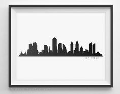 San Diego Skyline Black and White Silhouette - PDF, PNG, SVG, EPS.  ~~ Instant Download ~~