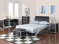 A modern youth group, the LeClair bed shows off a sleek metal arch frame with a rich black vinyl headboard available in both twin and full size. Matching pieces feature a metal latch lever for easy drawer opening and allows each unit to be mobile. Mattress sold separately *BOX SPRING NOT REQUIRED