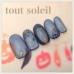 ネイル 画像 tout soleil 1152834 ブルー ハロウィン チップ ハンド