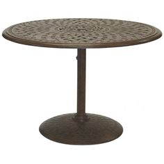 Outdoor Darlee Series 60 Cast Aluminum 42 in. Round Pedestal Patio Dining Table - 201060-G-