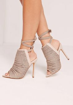 bf8075e15efb Missguided - Rope Detail Peep Toe Ankle Boots Nude Nude Ankle Boots