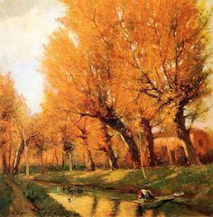 Paesaggio con lavandaia Augusto Baracchi