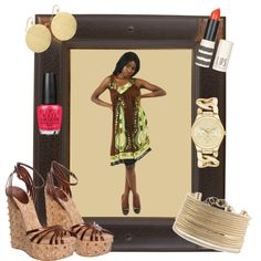 """""""Gold Goddess"""" on Polyvore. --We are LOVING this African inspired sundress accompanied with layers of gold jewelry!"""