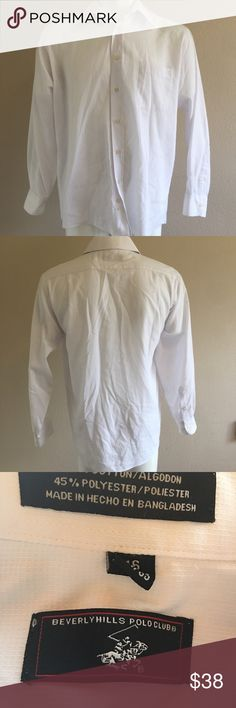 """Beverly Hills Polo Club Dress Shirt Beverly Hills Polo Club Shirt Collar - White / in immaculate condition  Button Down  Long Sleeve  16 34/35  Material: 55% Cotton 45% Polyester  •armpits 24"""" •length 30"""" -A- Beverly Hills Polo Club Shirts Dress Shirts"""