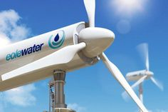 Wind Turbine could make 1,000 liters of clean water a day in the desert using a simple process. (technology created by Eole Water - a prototype is currently producing 500-800 liters/day)