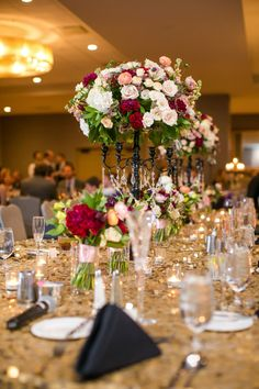 Blush and Red Centerpiece | Jeannine Marie Photography