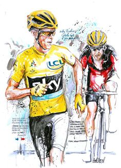 """Hey Richie, catch me if you can!"" Stage 12 Tour de France 2016 by Horst Brozy Cycling News, Cycling Art, Cycling Bikes, Bike Illustration, Bike Poster, Bicycle Race, Bike Style, Bike Art, Road Bikes"
