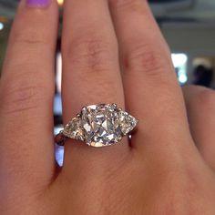 Rose cut cushion engagement ring