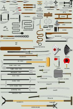 Japanese Weaponry by Kobra-Kan on DeviantArt Ninja Weapons, Anime Weapons, Fantasy Weapons, Weapons Guns, Armadura Steampunk, Types Of Swords, Sword Types, Martial Arts Weapons, Martial Arts Techniques