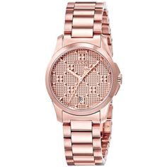 Gucci G-Timeless - YA126567 (Rose Gold) Watches ($980) ❤ liked on Polyvore featuring jewelry, watches, water resistant watches, quartz movement watches, gucci watches, analog watches and rose gold wrist watch