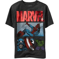 Shop the latest boys's clothes by size at Old Navy for cool and comfort. Create easy outfits for boys' everyday styles, special occasions, sports events & more. Super Hero Outfits, Boy Outfits, Marvel Kids, Baby Girl Pajamas, Mens Fashion Sweaters, Cool Graphic Tees, Kids Wear, Cool T Shirts, Casual