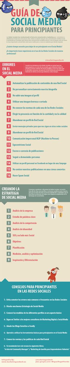 Guía de Social Media para principiantes. Infografía en español. #CommunityManager