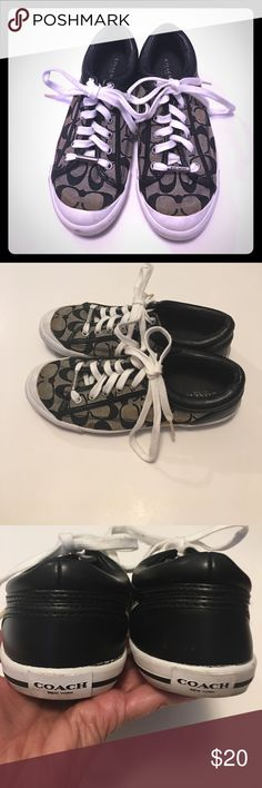 COACH T SHOES Brown and Beige with the letter C all over in brown , on front of shoestring is a silver embellishment that spells out COACH, when washed the first time a few places faded the brown, If I wouldn't of told you, you wouldn't of noticed otherwise in very good condition. Coach Shoes Sneakers