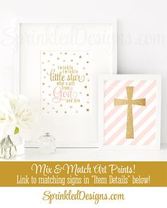 Twinkle Little Star What A Gift From God You Are, Baby Shower Birthday Decor, Printable Baby Girl Nursery Wall Art, Blush Pink Gold Glitter - SprinkledDesigns.com