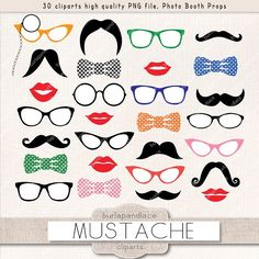 Mustache party clipart by burlapandlace on @creativemarket