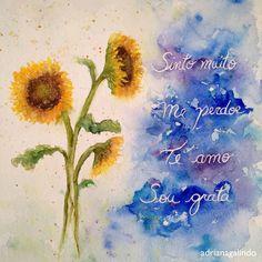 Copyright by Adriana Galindo - Sunflower, Hooponopono, watercolor painting / commissioned artwork / Girassol, aquarela feita sob encomenda. Adriana Galindo drigalindo1@gmail.com