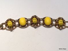 Vintage Selro Bracelet Yellow African Faces Cabochons and Citrine Rhinestones